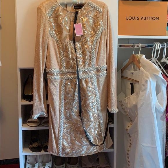 Prettylittlething Dresses Brand New Plt Rose Gold Premium Sequin Pearl Dress Poshmark